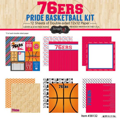 Scrapbook Customs - Basketball - 12 x 12 Paper Pack - 76ers Pride