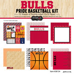 Scrapbook Customs - Basketball - 12 x 12 Paper Pack - Bulls Pride