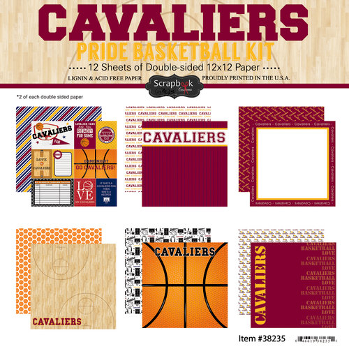 Scrapbook Customs - Basketball - 12 x 12 Paper Pack - Cavaliers Pride