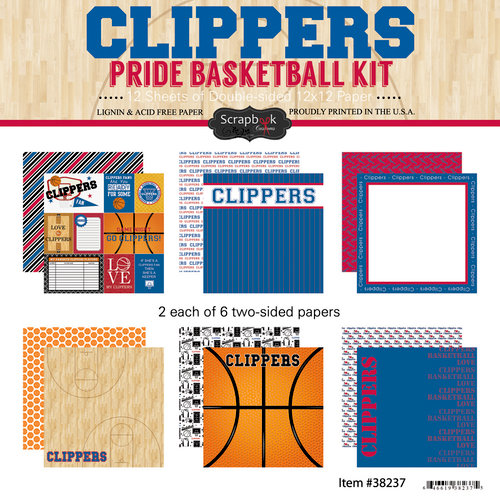 Scrapbook Customs - Basketball - 12 x 12 Paper Pack - Clippers Pride