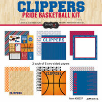 Scrapbook Customs - Basketball - 12 x 12 Paper Pack - Clippers Pride