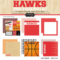 Scrapbook Customs - Basketball - 12 x 12 Paper Pack - Hawks Pride
