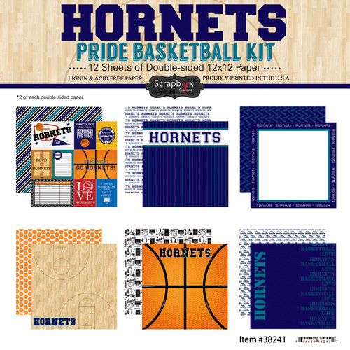 Scrapbook Customs - Basketball - 12 x 12 Paper Pack - Hornets Pride