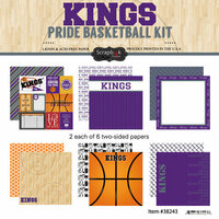 Scrapbook Customs - Basketball - 12 x 12 Paper Pack - Kings Pride