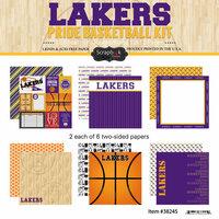 Scrapbook Customs - Basketball - 12 x 12 Paper Pack - Lakers Pride