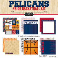 Scrapbook Customs - Basketball - 12 x 12 Paper Pack - Pelicans Pride