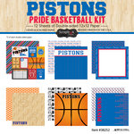 Scrapbook Customs - Basketball - 12 x 12 Paper Pack - Pistons Pride