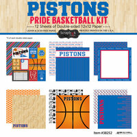 Scrapbook Customs - Basketball - 12 x 12 Paper Pack - Pistons Pride