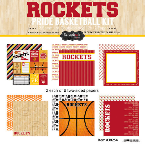 Scrapbook Customs - Basketball - 12 x 12 Paper Pack - Rockets Pride