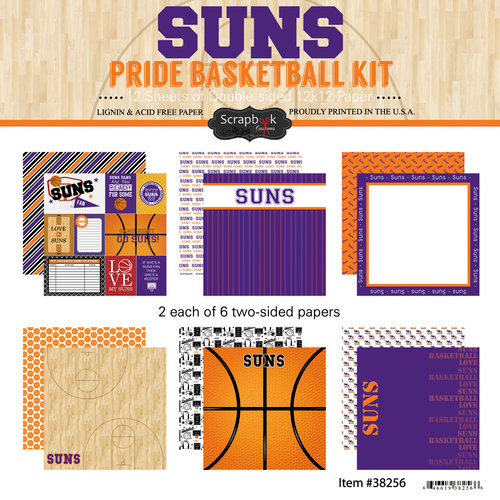 Scrapbook Customs - Basketball - 12 x 12 Paper Pack - Suns Pride