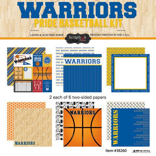 Scrapbook Customs - Basketball - 12 x 12 Paper Pack - Warriors Pride