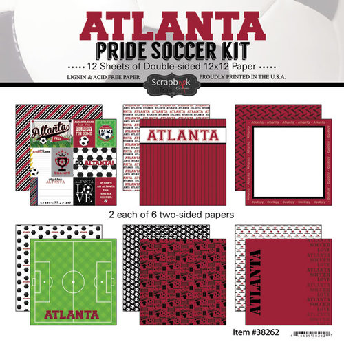 Scrapbook Customs - Soccer - 12 x 12 Paper Pack - Atlanta Pride