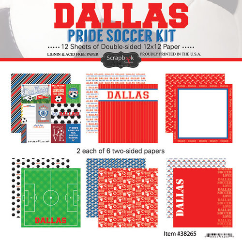 Scrapbook Customs - Soccer - 12 x 12 Paper Pack - Dallas Pride