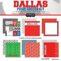 Scrapbook Customs - Soccer - 12 x 12 Paper Pack - Dallas Pride
