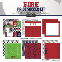 Scrapbook Customs - Soccer - 12 x 12 Paper Pack - Fire Pride