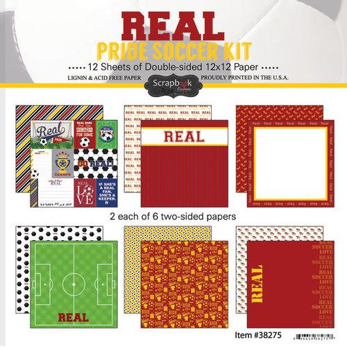 Scrapbook Customs - Soccer - 12 x 12 Paper Pack - Real Pride