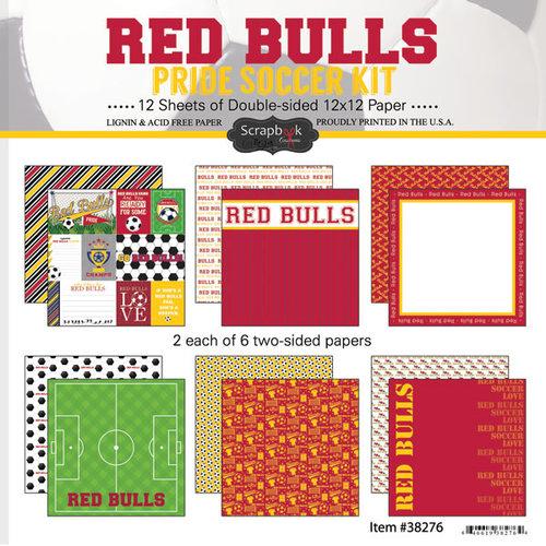 Scrapbook Customs - Soccer - 12 x 12 Paper Pack - Red Bulls Pride