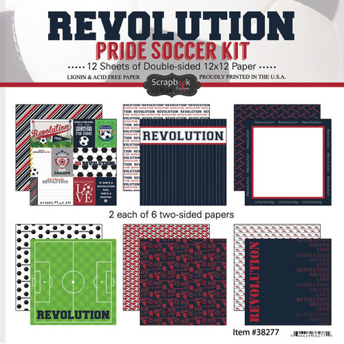 Scrapbook Customs - Soccer - 12 x 12 Paper Pack - Revolution Pride
