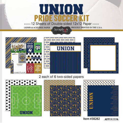 Scrapbook Customs - Soccer - 12 x 12 Paper Pack - Union Pride