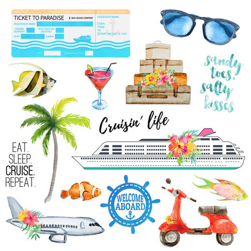 Scrapbook Customs - Getaway Collection - 12 x 12 Paper - Cut Out 2