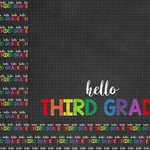 Scrapbook Customs - School Collection - 12 x 12 Double Sided Paper - Hello Third Grade
