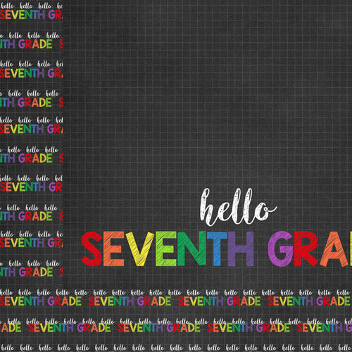 Scrapbook Customs - School Collection - 12 x 12 Double Sided Paper - Hello Seventh Grade