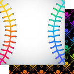 Scrapbook Customs - Neon Sports Collection - Baseball - 12 x 12 Double Sided Paper - 1