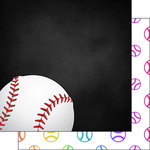 Scrapbook Customs - Neon Sports Collection - Baseball - 12 x 12 Double Sided Paper - 2