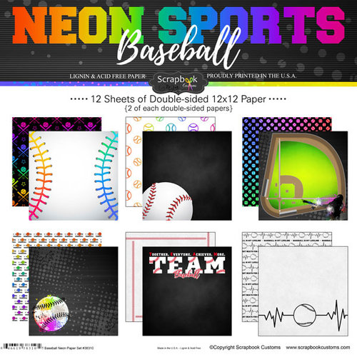 Scrapbook Customs - Neon Sports Collection - Baseball - 12 x 12 Paper Pack