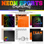 Scrapbook Customs - Neon Sports Collection - Basketball - 12 x 12 Paper Pack