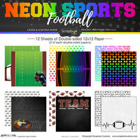 Scrapbook Customs - Neon Sports Collection - Football - 12 x 12 Paper Pack