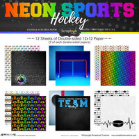 Scrapbook Customs - Neon Sports Collection - Hockey - 12 x 12 Paper Pack