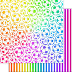Scrapbook Customs - Neon Sports Collection - Soccer - 12 x 12 Double Sided Paper - 2