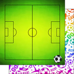 Scrapbook Customs - Neon Sports Collection - Soccer - 12 x 12 Double Sided Paper - 3