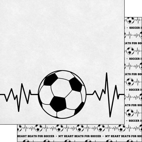 Scrapbook Customs - Neon Sports Collection - Soccer - 12 x 12 Double Sided Paper - 6