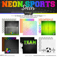 Scrapbook Customs - Neon Sports Collection - Soccer - 12 x 12 Paper Pack