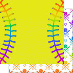 Scrapbook Customs - Neon Sports Collection - Softball - 12 x 12 Double Sided Paper - 1