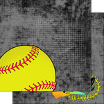 Scrapbook Customs - Neon Sports Collection - Softball - 12 x 12 Double Sided Paper - 2