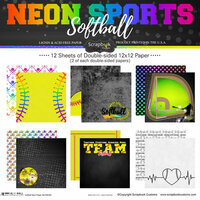 Scrapbook Customs - Neon Sports Collection - Softball - 12 x 12 Paper Pack