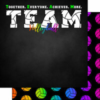Scrapbook Customs - Neon Sports Collection - Volleyball - 12 x 12 Double Sided Paper - 2