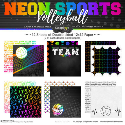 Scrapbook Customs - Neon Sports Collection - Volleyball - 12 x 12 Paper Pack