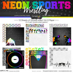 Scrapbook Customs - Neon Sports Collection - Wrestling - 12 x 12 Paper Pack