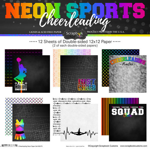 Scrapbook Customs - Neon Sports Collection - Cheer - 12 x 12 Paper Pack