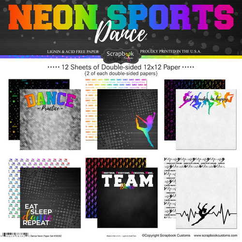 Scrapbook Customs - Neon Sports Collection - Dance - 12 x 12 Paper Pack