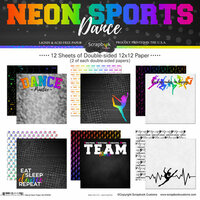 Scrapbook Customs - Neon Sports Collection - Dance - 12 x 12 Paper Pack