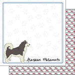 Scrapbook Customs - Puppy Love Collection - 12 x 12 Double Sided Paper - Breed - Alaskan Malamute