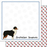 Scrapbook Customs - Puppy Love Collection - 12 x 12 Double Sided Paper - Breed - Australian Shepherd