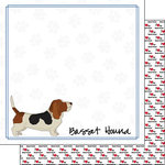 Scrapbook Customs - Puppy Love Collection - 12 x 12 Double Sided Paper - Breed - Basset Hound