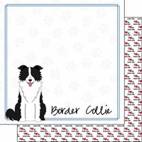 Scrapbook Customs - Puppy Love Collection - 12 x 12 Double Sided Paper - Breed - Border Collie
