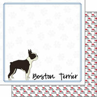Scrapbook Customs - Puppy Love Collection - 12 x 12 Double Sided Paper - Breed - Boston Terrier